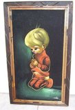 Vintage blond baby praying painting on black velve in Alamogordo, New Mexico