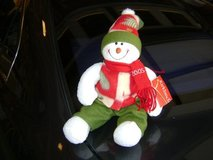 Red, White, & Green Colorful Poseable Snowman NWT in Kingwood, Texas