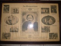 Rare Framed memorial of queen Astrid from 1935 in Ramstein, Germany